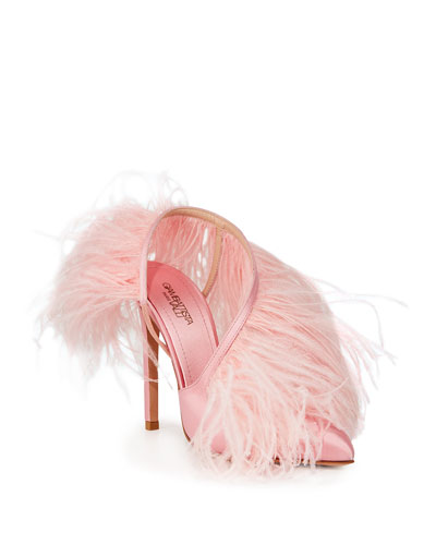 Feathered Slingback Pumps