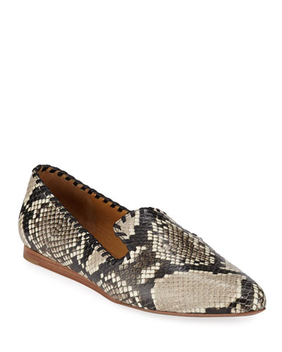 3b11c7efced Griffin Python-Embossed Flat Loafers