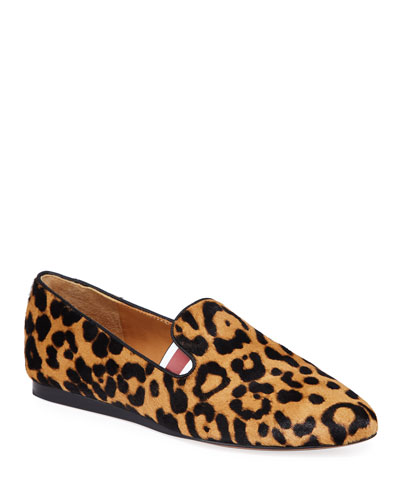 Griffin Leopard Calf Hair Loafers