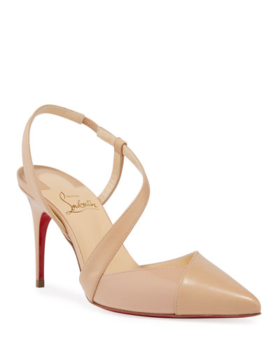 Platina Asymmetric Red Sole Pumps