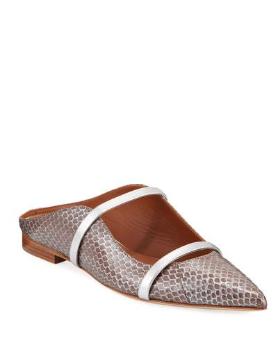 Maureen Metallic Snakeskin Flat Mules