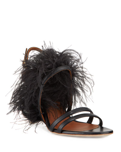 08001675f Strappy Leather Mid-Heel Feather Sandals