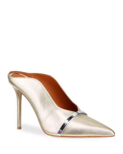 Constance 85mm Metallic Leather High-Side Mules