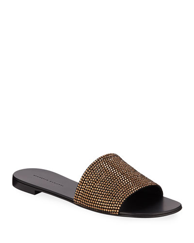 Crystal-Studded Flat Slide Sandals
