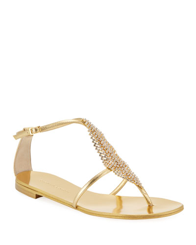 Metallic Crystal Mesh Flat Sandals