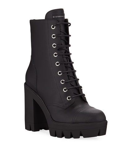 Leather Block-Heel Combat Boots