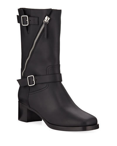 Diagonal Zip Leather Buckle Boots