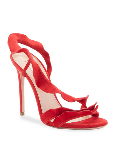 Ruffle Suede Sandals