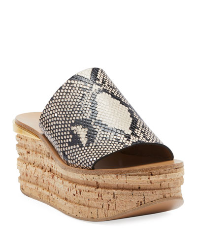 Camille Python-Embossed Wedge Sandals