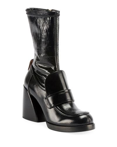 Adelie Block-Heel Patent Booties