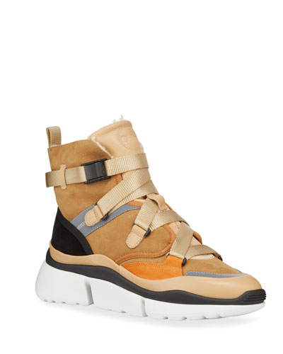 Sonnie Suede Shearling-Lined High-Top Sneakers