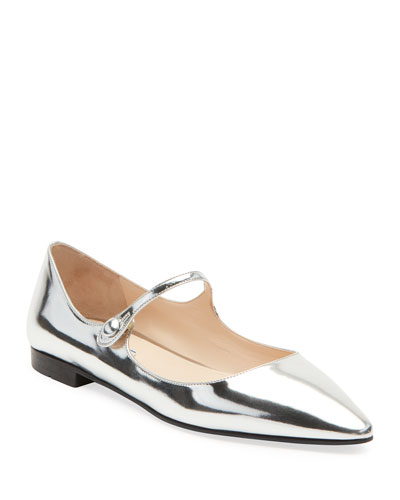 Metallic Leather Mary Jane Ballet Flats