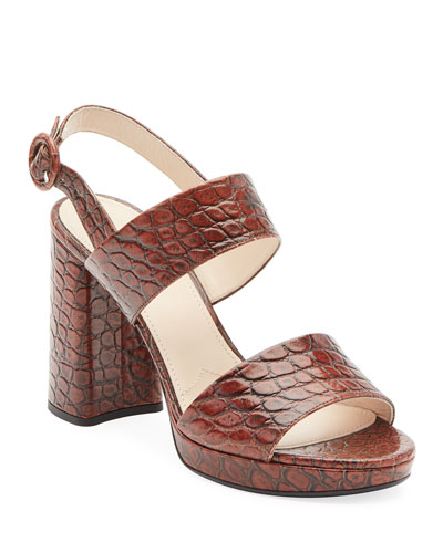 Croco Platform Two-Band Sandals