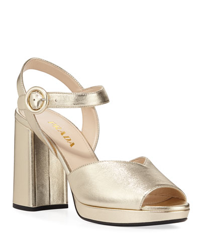95mm Metallic Leather Platform Sandals