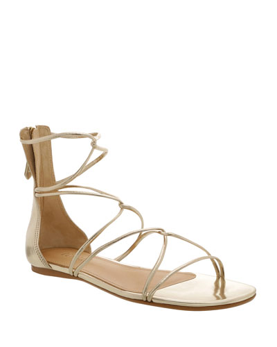 Fabia Flat Metallic Strappy Sandals