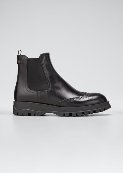 Leather Wing-Tip Chelsea Boots