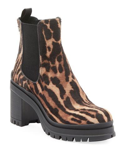 Cheetah-Print Lug-Sole Boots