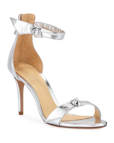 Asymmetric Clarita Metallic Ankle-Strap Sandals