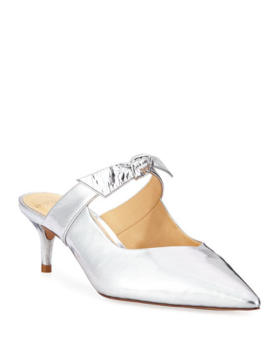 Clarita Metallic Leather Bow Mules