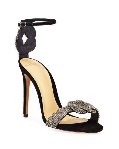 Vicky Crystal Suede Ankle-Strap Sandals