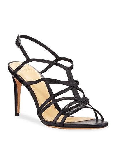 Emma Caged Leather Mid-Heel Sandals
