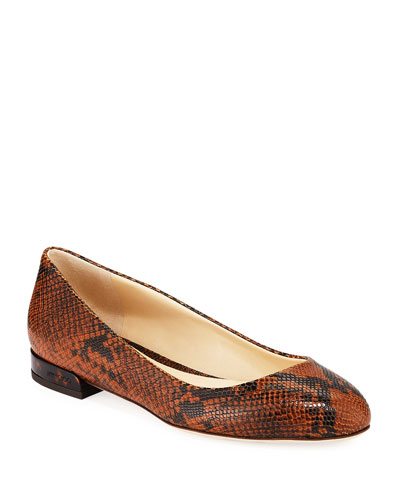 Jessie Snake-Embossed Leather Flats