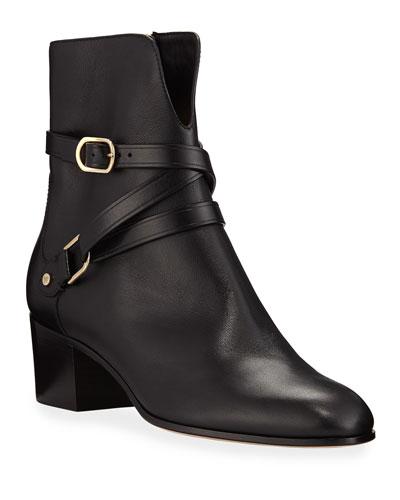 Harker Leather Buckle Booties