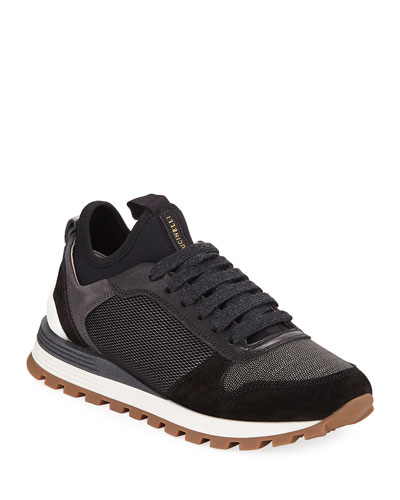 Suede & Neoprene Monili Beaded Sneakers