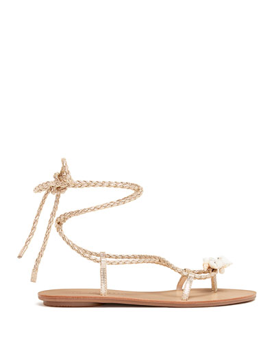 Shelly Metallic Wrap Sandals