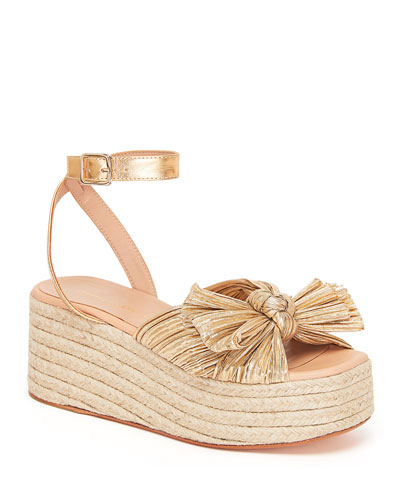 Pleated Knot Espadrilles Gold