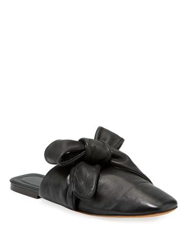 Maia Tie-Back Leather Mule Flats