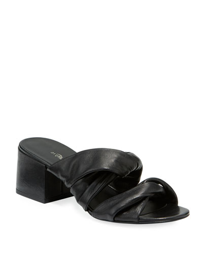 Cube Leather Block-Heel Slide Sandals