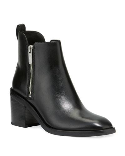 Alexa Leather Double-Zip Ankle Booties