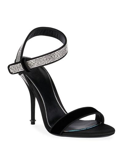 Velvet Crystal-Embellished Sandals