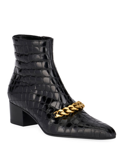 Crocodile-Print Chain Ankle Booties