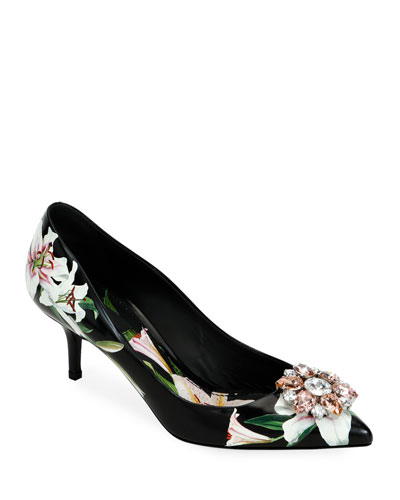 Flower Leather Slingback Pumps, Black