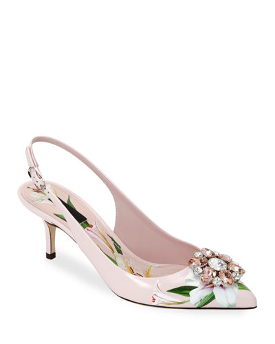 Flower Leather Slingback Pumps