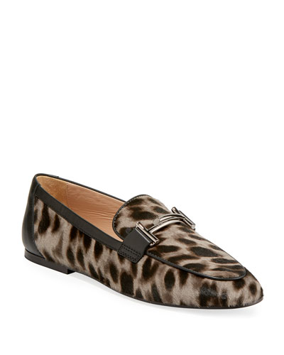 Double T Leopard-Print Calf Hair Loafers