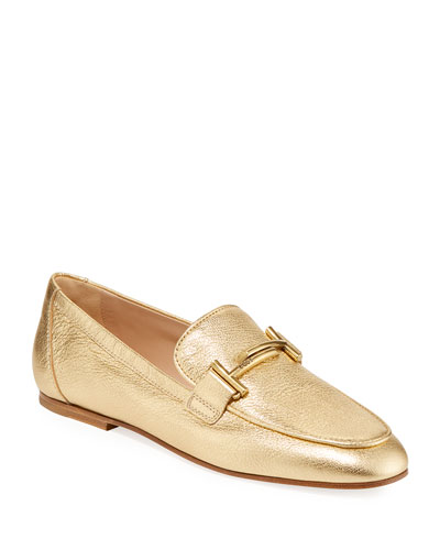 Double T Metallic Leather Loafers