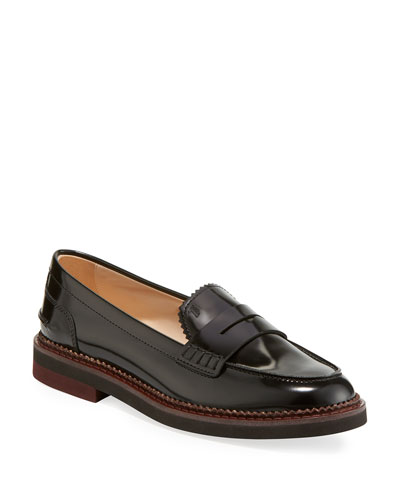 Pinked Leather Penny Loafers