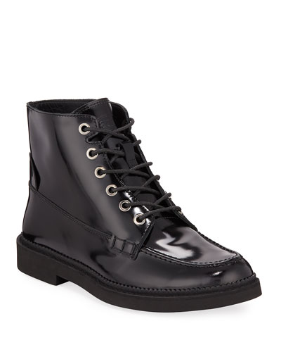Combat Lace-Up Leather Ankle Boots