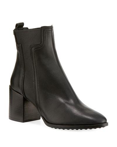 Leather Block-Heel Chelsea Boots