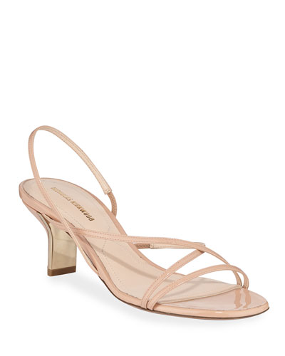60mm Leeloo Strappy Patent Leather Sandals, Nude