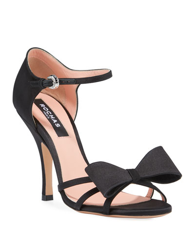 Satin High-Heel Bow Sandals