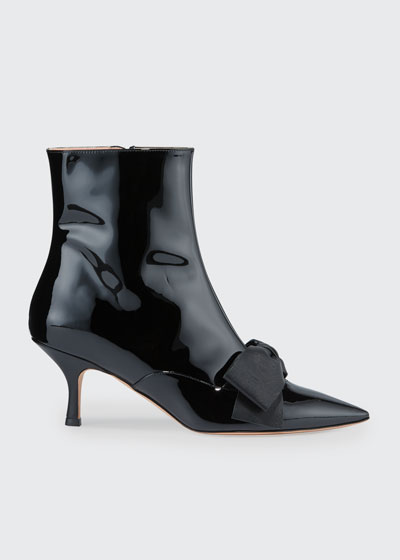 Patent Pointed-Toe Bow Booties