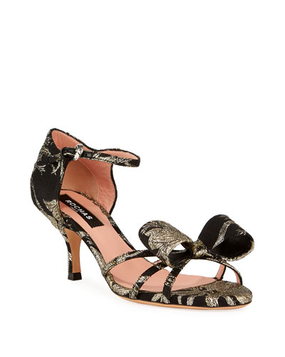 Bow Jacquard Bow Sandals