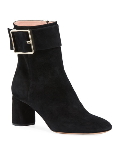 Suede Column-Heel Buckle Booties