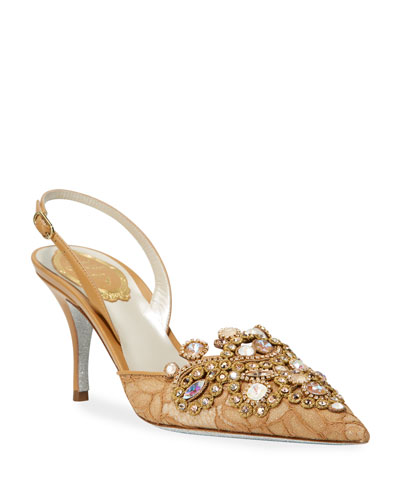 Jeweled Lace Mid-Heel Pumps