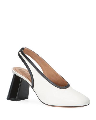 Leather Tilted-Heel Slingback Pumps