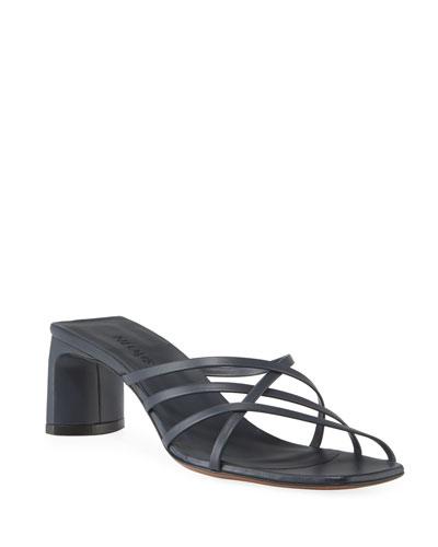 Mannia Slide Crisscross Sandals, Navy